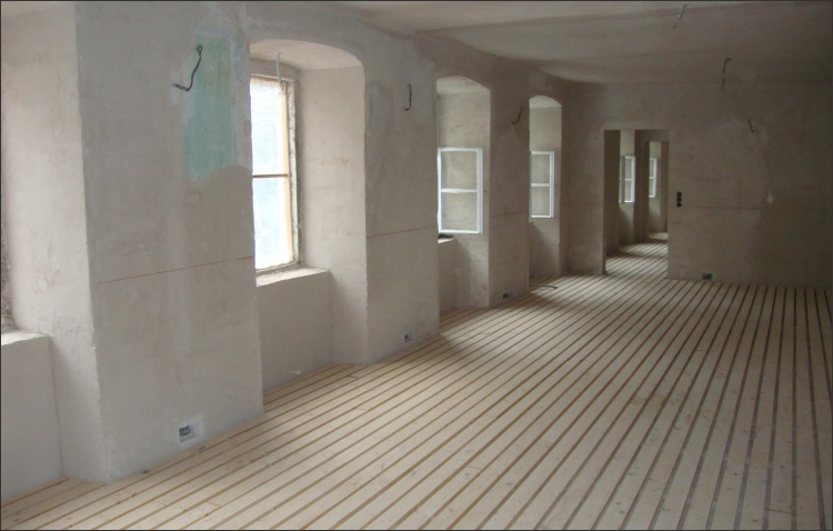 Verlegter Unterboden auf Holzweichfaserplatten